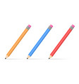 three colored pencils vector image vector image