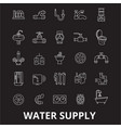 water supply editable line icons set on vector image