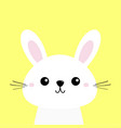 white bunny rabbit cute kawaii cartoon character vector image vector image