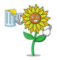 with juice sunflower mascot cartoon style vector image