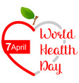april 7 world health day greeting card heart shape vector image vector image