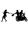 bag snatchers silhouette vector image vector image