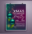 beautiful christmas party flyer desgin template vector image