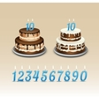 Birthday Cake with Candles Numerals vector image vector image