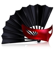 black fan and red mask vector image vector image