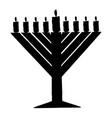 black silhouette of chanukiah hanukkah vector image vector image