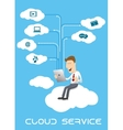 Businessman using tablet pc on cloud service vector image vector image