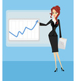 Cartoon of a business woman pointing to rising vector image