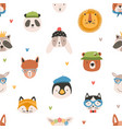 childish seamless pattern with cute funny faces of vector image vector image