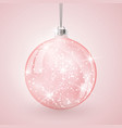 christmas crystal glass ball on pink background vector image