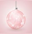 christmas crystal glass ball on pink background vector image vector image