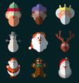 Christmas santa claus wisemen icons set vector image