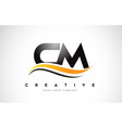 cm c m swoosh letter logo design with modern
