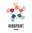 colorful human palms childrens handprint logo vector image vector image