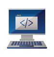 computer monitor keyboard coding website vector image vector image
