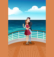 couple standing on deck vector image vector image