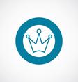 crown icon bold blue circle border vector image vector image