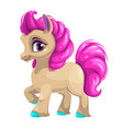 cute cartoon little horse with pink hair vector image vector image