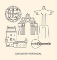 discover portugal banner or poster template with vector image