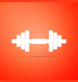 dumbbell icon isolated on orange background vector image