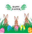easter card with decorative eggs on green grass vector image