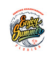 enjoy summer emblem template with sea waves and vector image vector image
