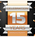 Fifteen years anniversary celebration golden and vector image vector image