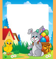frame with easter bunny theme 8 vector image