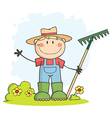 Gardening Boy Waving A Greeting