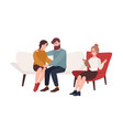 happy married couple on couch and female vector image vector image