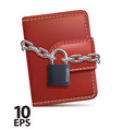 leather wallet with padlock and chain on white vector image vector image