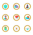 life insurance icon set cartoon style vector image vector image