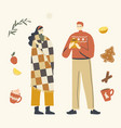 male and female characters in warm clothes vector image vector image