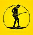 musician playing bass music band vector image vector image