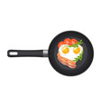 pan with fried egg in shape a heart vector image vector image