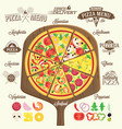 pizza menu labels and design elements vector image vector image