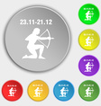 Sagittarius icon sign Symbol on eight flat buttons vector image