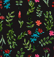 Seamless pattern with watercolor flowers on a dark vector image vector image