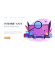 search information and internet cafe landing page vector image vector image