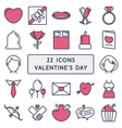 set 22 icons in style monoline for happy vector image