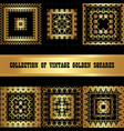 set a collection of golden square frames vintage vector image