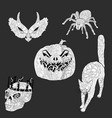 set of anti stress coloring pages for halloween vector image vector image