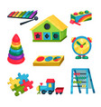 set of children s toys xylophone pyramid with vector image vector image