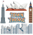 set of town building theme vector image vector image