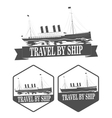 set vintage ships labels travel ship vector image