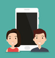 smartphone device with couple vector image vector image