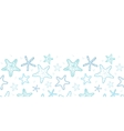 starfish blue line art horizontal seamless pattern vector image
