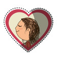 sticker color silhouette with her in heart frame vector image vector image