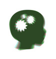 thinking head sign colorful icon shaked vector image vector image