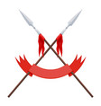 two spears a flag and a red ribbon on a white vector image vector image